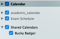 Calendars with check boxes listed in the Folder Panel image