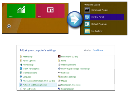 windows 8 tiles 1 Path to Network and Shareing Center Image