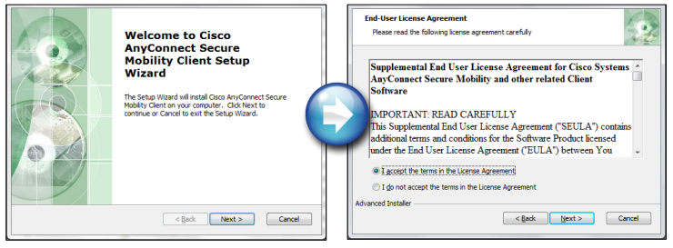 Client setup wizard and license agreement