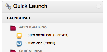 Link to Canvas within myNMSU Quick Launch menu