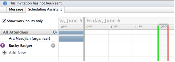 calendar grid display in scheduling assistant tab