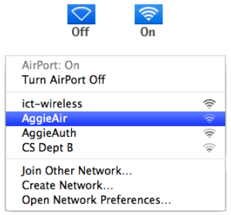 Apple network connections and wifi list