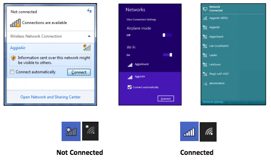 network icons with lists of possible wifi connections