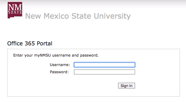Office 365 Portal login page