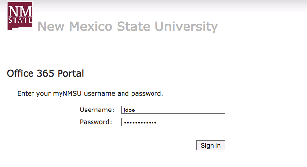 Office 365 Portal username and password entry