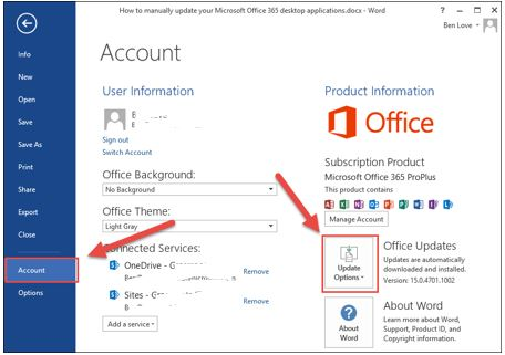 Microsoft office account menu and update options button