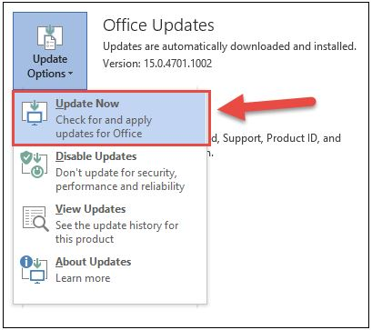 microsoft office update now option button