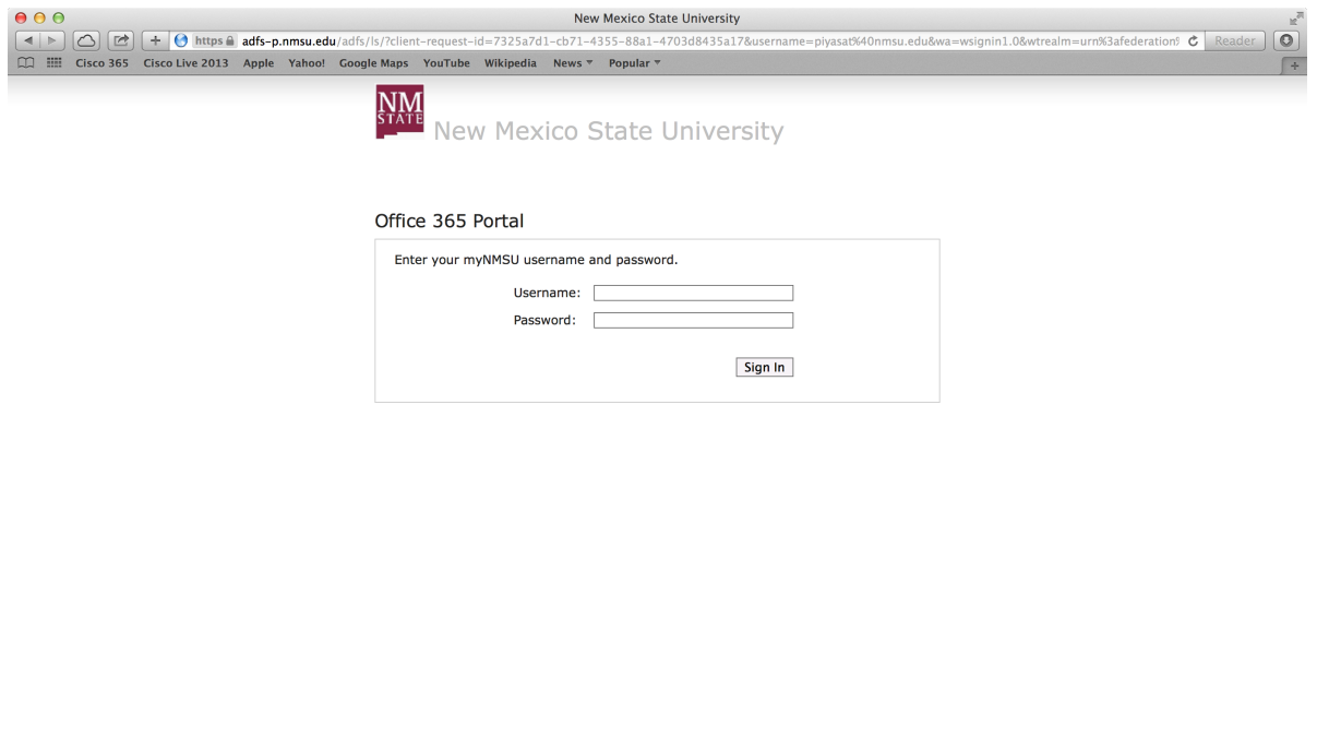 NMSU Office 365 log in portal