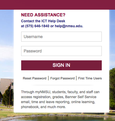 MyNMSU login Box