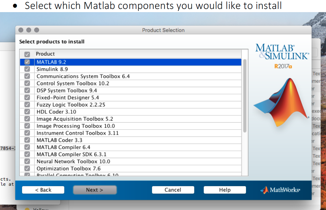 Selection of matlab components to install image