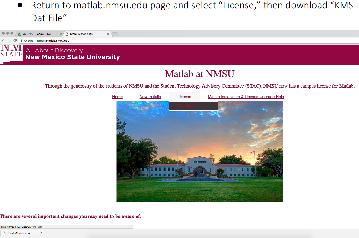 Matlab at NMSU home page image