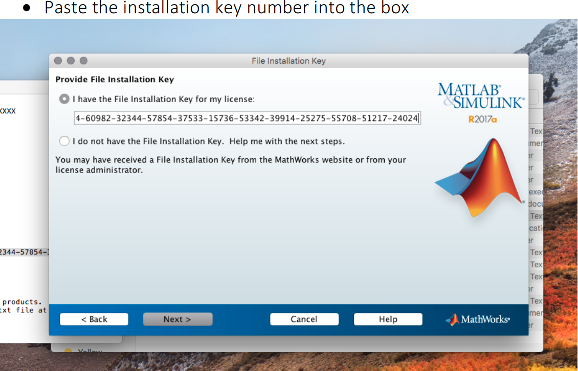 Pasting the installation key image
