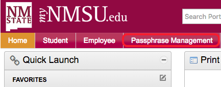 passphrase management tab from mynmsu homepage