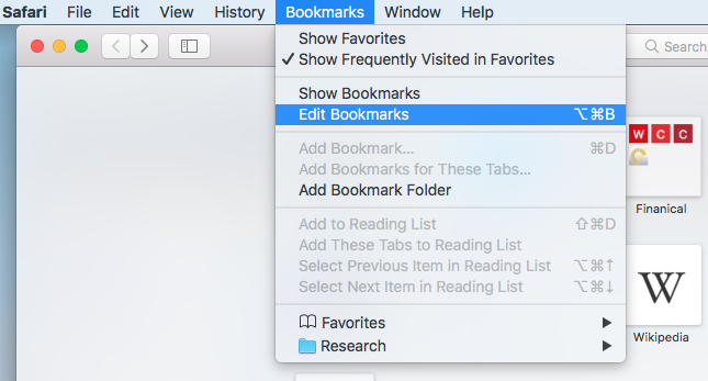 Edit Bookmarks option from menu