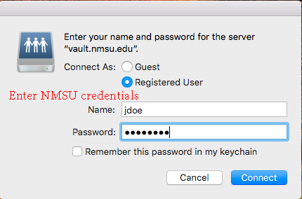 Enter NMSU credentials
