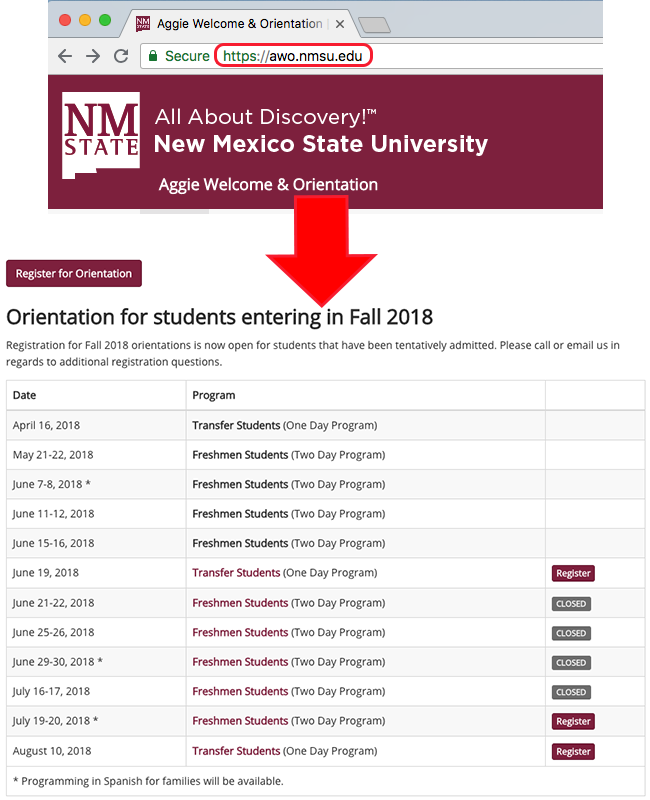 Orientation homepage and registration selection