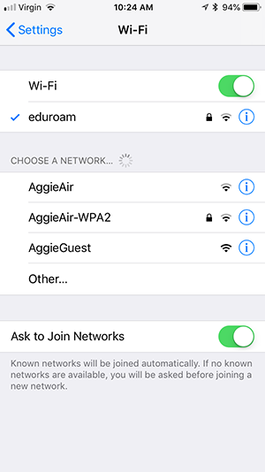 Eduroam connected (blue checkmark)