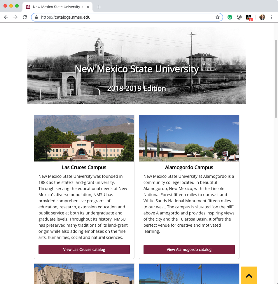 NMSU Course Catalog Website