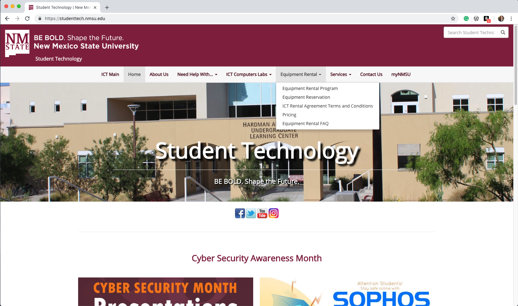 student technology homepage