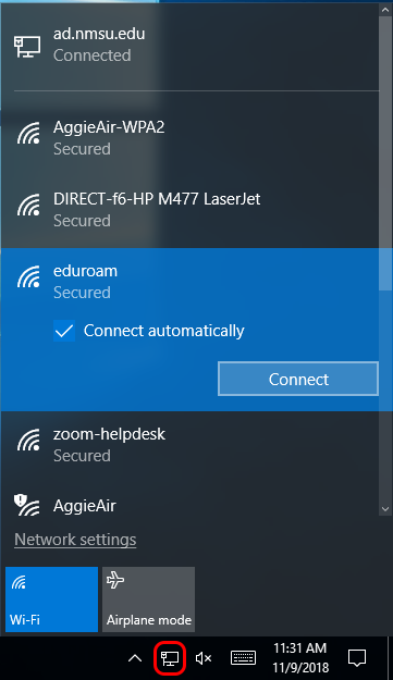 Open networks and select eduroam