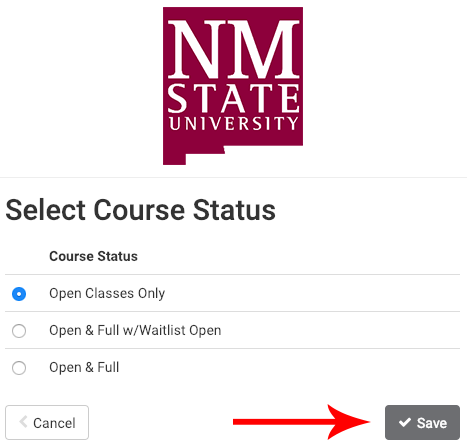 course status selection