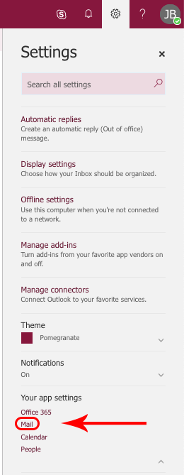 settings menu and mail option