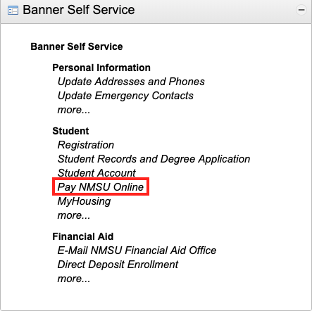 passphrase navigate and select pay nmsu