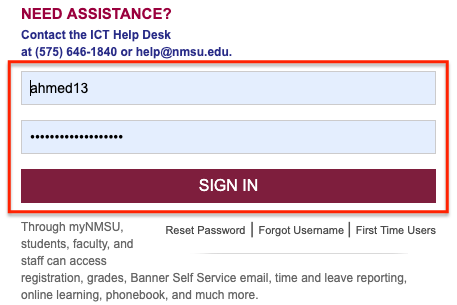 passphrase log in to my.nmsu