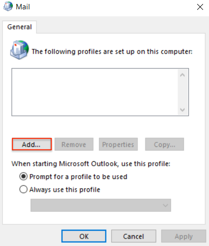 passphrase select prompt for a profile to be used