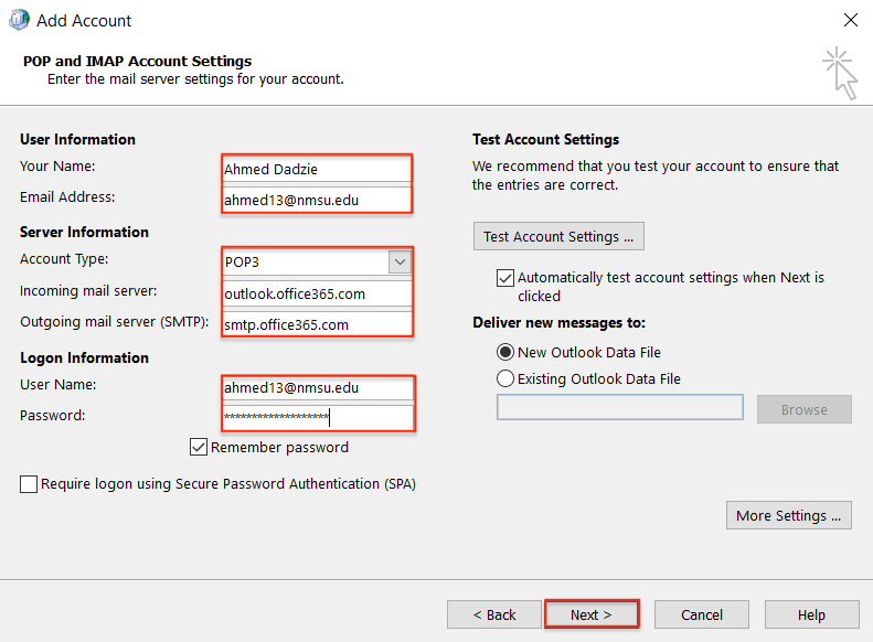 passphrase fill in pop and imap account settings